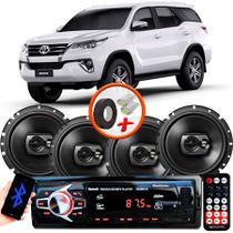 "Kit Alto Falante Pioneer Toyota Hillux SW4 Ts-1790br 6x6"" 240W RMS 4 Ohms Triaxial Bobina Simples Preto + Rádio Com Bluetooth - Kit Delparts"