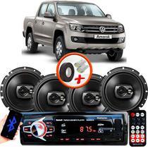 "Kit Alto Falante Pioneer VW Amarok Ts-1790br 6x6"" 240W RMS 4 Ohms Triaxial Bobina Simples Preto + Rádio Com Bluetooth - Kit Delparts"