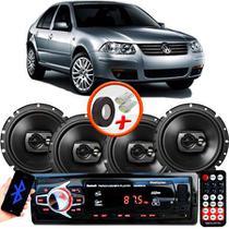 "Kit Alto Falante Pioneer VW Bora Ts-1790br 6x6"" 240W RMS 4 Ohms Triaxial Bobina Simples Preto + Rádio Com Bluetooth - Kit Delparts"