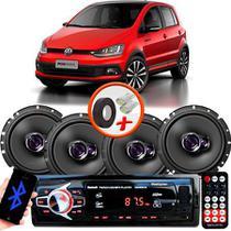 "Kit Alto Falante Pioneer VW Fox Ts-1760br 6x6"" 200W RMS 4 Ohms Triaxial Bobina Simples  + Rádio Com Bluetooth - Kit Delparts"