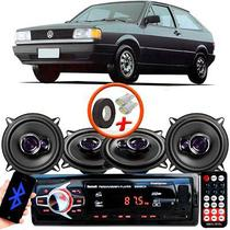 "Kit Alto Falante Pioneer VW Gol Quadrado Ts-1360br 5x5"" 200W RMS 4 Ohms Triaxial Bobina Simples Preto Roxo + Rádio Com Bluetooth - Kit Delparts"