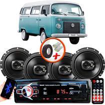 "Kit Alto Falante Pioneer VW Kombi Ts-1790br 6x6"" 240W RMS 4 Ohms Triaxial Bobina Simples Preto + Rádio Com Bluetooth - Kit Delparts"