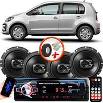 "Kit Alto Falante Pioneer VW Up Ts-1790br 6x6"" 240W RMS 4 Ohms Triaxial Bobina Simples Preto + Rádio Com Bluetooth - Kit Delparts"