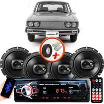 "Kit Alto Falante Pioneer VW Variant Ts-1790br 6x6"" 240W RMS 4 Ohms Triaxial Bobina Simples Preto + Rádio Com Bluetooth - Kit Delparts"