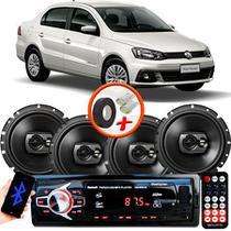 "Kit Alto Falante Pioneer VW Voyage Ts-1790br 6x6"" 240W RMS 4 Ohms Triaxial Bobina Simples Preto + Rádio Com Bluetooth - Kit Delparts"