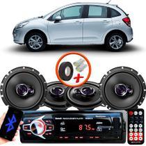 "Kit Alto Falante Pionner Citroen C3 Ts-1360br + TS-1760BR 5X6"" 200W RMS 4 Ohms Triaxial Bobina Simples + Rádio Com Bluetooth - Pioneer"