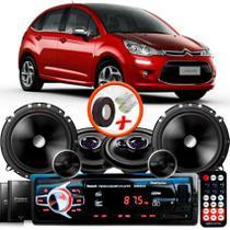 """Kit Alto Falante Pionner Citroen C3 Ts-1360br + TS-C170BR 5X6"""" 220W RMS + Tweeters + Crossovers + Rádio Com Bluetooth - Pioneer"""