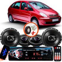 "Kit Alto Falante Pionner Citroen Xsara Picasso Ts-1360br + TS-1790BR 5X6"" 220W RMS 4 Ohms Triaxial Bobina Simples + Rádio Com Bluetooth - Pioneer"