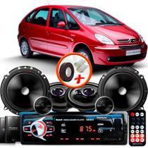 "Kit Alto Falante Pionner Citroen Xsara Picasso Ts-1360br + TS-C170BR 5X6"" 220W RMS + Tweeters + Crossovers + Rádio Com Bluetooth - Pioneer"