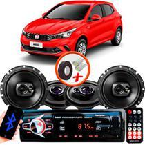 """Kit Alto Falante Pionner Fiat Argo Ts-1360br + TS-1790BR 5X6"""" 220W RMS 4 Ohms Triaxial Bobina Simples + Rádio Com Bluetooth - Pioneer"""