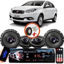 "Kit Alto Falante Pionner Fiat Grand Siena Ts-1360br + TS-1760BR 5X6"" 200W RMS 4 Ohms Triaxial Bobina Simples + Rádio Com Bluetooth - Pioneer"