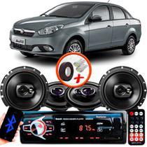 "Kit Alto Falante Pionner Fiat Grand Siena Ts-1360br + TS-1790BR 5X6"" 220W RMS 4 Ohms Triaxial Bobina Simples + Rádio Com Bluetooth - Pioneer"