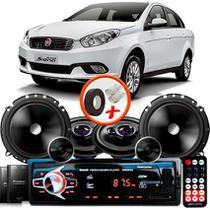 """Kit Alto Falante Pionner Fiat Grand Siena Ts-1360br + TS-C170BR 5X6"""" 220W RMS + Tweeters + Crossovers + Rádio Com Bluetooth - Pioneer"""