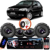 "Kit Alto Falante Pionner Fiat Palio Fire Ts-1360br + TS-1760BR 5X6"" 200W RMS 4 Ohms Triaxial Bobina Simples + Rádio Com Bluetooth - Pioneer"
