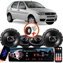 "Kit Alto Falante Pionner Fiat Palio Fire Ts-1360br + TS-1790BR 5X6"" 220W RMS 4 Ohms Triaxial Bobina Simples + Rádio Com Bluetooth - Pioneer"