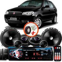 "Kit Alto Falante Pionner Fiat Palio Fire Ts-1360br + TS-C170BR 5X6"" 220W RMS + Tweeters + Crossovers + Rádio Com Bluetooth - Pioneer"