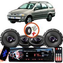 "Kit Alto Falante Pionner Fiat Palio Weekend Ts-1360br + TS-1760BR 5X6"" 200W RMS 4 Ohms Triaxial Bobina Simples + Rádio Com Bluetooth - Pioneer"