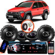 "Kit Alto Falante Pionner Fiat Palio Weekend Ts-1360br + TS-1790BR 5X6"" 220W RMS 4 Ohms Triaxial Bobina Simples + Rádio Com Bluetooth - Pioneer"