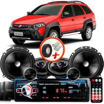 "Kit Alto Falante Pionner Fiat Palio Weekend Ts-1360br + TS-C170BR 5X6"" 220W RMS + Tweeters + Crossovers + Rádio Com Bluetooth - Pioneer"