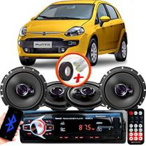"Kit Alto Falante Pionner Fiat Punto Ts-1360br + TS-1760BR 5X6"" 200W RMS 4 Ohms Triaxial Bobina Simples + Rádio Com Bluetooth - Pioneer"