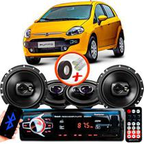 "Kit Alto Falante Pionner Fiat Punto Ts-1360br + TS-1790BR 5X6"" 220W RMS 4 Ohms Triaxial Bobina Simples + Rádio Com Bluetooth - Pioneer"