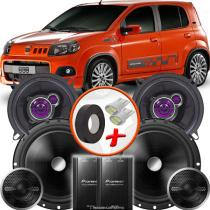 """Kit Alto Falante Pionner Fiat Uno Sporting Ts-1360br + TS-C170BR 5X6"""" 220W RMS + Tweeters + Crossovers - Pioneer"""