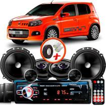 "Kit Alto Falante Pionner Fiat Uno Sporting Ts-1360br + TS-C170BR 5X6"" 220W RMS + Tweeters + Crossovers + Rádio Com Bluetooth - Pioneer"