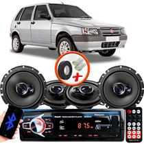 "Kit Alto Falante Pionner Fiat Uno Ts-1360br + TS-1760BR 5X6"" 200W RMS 4 Ohms Triaxial Bobina Simples + Rádio Com Bluetooth - Pioneer"