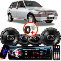 "Kit Alto Falante Pionner Fiat Uno Ts-1360br + TS-1790BR 5X6"" 220W RMS 4 Ohms Triaxial Bobina Simples + Rádio Com Bluetooth - Pioneer"