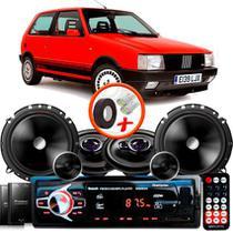 "Kit Alto Falante Pionner Fiat Uno Ts-1360br + TS-C170BR 5X6"" 220W RMS + Tweeters + Crossovers + Rádio Com Bluetooth - Pioneer"