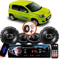 "Kit Alto Falante Pionner Fiat Uno Vivace Ts-1360br + TS-1790BR 5X6"" 220W RMS 4 Ohms Triaxial Bobina Simples + Rádio Com Bluetooth - Pioneer"