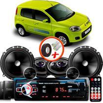 "Kit Alto Falante Pionner Fiat Uno Vivace Ts-1360br + TS-C170BR 5X6"" 220W RMS + Tweeters + Crossovers + Rádio Com Bluetooth - Pioneer"