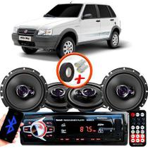 "Kit Alto Falante Pionner Fiat Uno Way Ts-1360br + TS-1760BR 5X6"" 200W RMS 4 Ohms Triaxial Bobina Simples + Rádio Com Bluetooth - Pioneer"