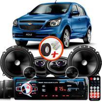"Kit Alto Falante Pionner Ford Agile Ts-1360br + TS-C170BR 5X6"" 220W RMS + Tweeters + Crossovers + Rádio Com Bluetooth - Pioneer"
