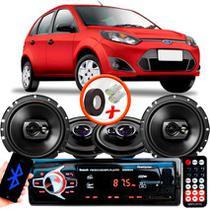 "Kit Alto Falante Pionner Ford Fiesta Ts-1360br + TS-1790BR 5X6"" 220W RMS 4 Ohms Triaxial Bobina Simples + Rádio Com Bluetooth - Pioneer"
