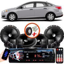 """Kit Alto Falante Pionner Ford Focus Sedan 2 Vias TS-C170BR 6X6"""" 240W RMS + Tweeters + Crossovers + Rádio Com Bluetooth - Kit Delparts"""