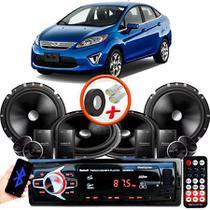 """Kit Alto Falante Pionner Ford New Fiesta Sedan 2 Vias TS-C170BR 6X6"""" 240W RMS + Tweeters + Crossovers + Rádio Com Bluetooth - Kit Delparts"""