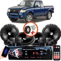 """Kit Alto Falante Pionner Ford Ranger 2 Vias TS-C170BR 6X6"""" 240W RMS + Tweeters + Crossovers + Rádio Com Bluetooth - Kit Delparts"""