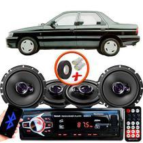 "Kit Alto Falante Pionner Ford Verona Ts-1360br + TS-1760BR 5X6"" 200W RMS 4 Ohms Triaxial Bobina Simples + Rádio Com Bluetooth - Pioneer"