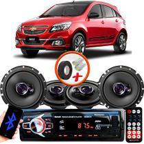 "Kit Alto Falante Pionner GM Agile Ts-1360br + TS-1760BR 5X6"" 200W RMS 4 Ohms Triaxial Bobina Simples + Rádio Com Bluetooth - Pioneer"