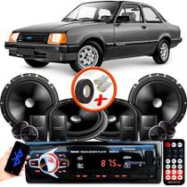 "Kit Alto Falante Pionner GM Chevette 2 Vias TS-C170BR 6X6"" 240W RMS + Tweeters + Crossovers + Rádio Com Bluetooth - Kit Delparts"
