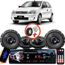 "Kit Alto Falante Pionner GM Corsa Hatch Joy Ts-1360br + TS-1760BR 5X6"" 200W RMS 4 Ohms Triaxial Bobina Simples + Rádio Com Bluetooth - Pioneer"