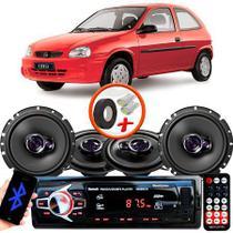 "Kit Alto Falante Pionner GM Corsa Wind Ts-1360br + TS-1760BR 5X6"" 200W RMS 4 Ohms Triaxial Bobina Simples + Rádio Com Bluetooth - Pioneer"
