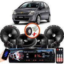 """Kit Alto Falante Pionner GM Meriva 2 Vias TS-C170BR 6X6"""" 240W RMS + Tweeters + Crossovers + Rádio Com Bluetooth - Kit Delparts"""