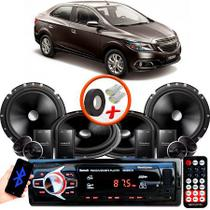 "Kit Alto Falante Pionner GM Prisma 2 Vias TS-C170BR 6X6"" 240W RMS + Tweeters + Crossovers + Rádio Com Bluetooth - Kit Delparts"
