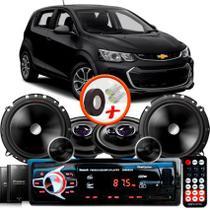 "Kit Alto Falante Pionner GM Sonic Hatch Ts-1360br + TS-C170BR 5X6"" 220W RMS + Tweeters + Crossovers + Rádio Com Bluetooth - Pioneer"