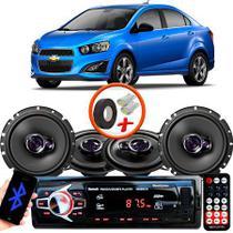 "Kit Alto Falante Pionner GM Sonic Sedan Ts-1360br + TS-1760BR 5X6"" 200W RMS 4 Ohms Triaxial Bobina Simples + Rádio Com Bluetooth - Pioneer"