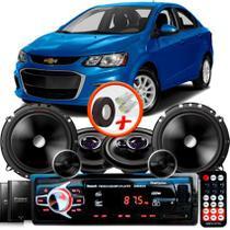 """Kit Alto Falante Pionner GM Sonic Sedan Ts-1360br + TS-C170BR 5X6"""" 220W RMS + Tweeters + Crossovers + Rádio Com Bluetooth - Pioneer"""
