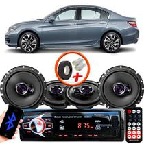 "Kit Alto Falante Pionner Honda Accord Ts-1360br + TS-1760BR 5X6"" 200W RMS 4 Ohms Triaxial Bobina Simples + Rádio Com Bluetooth - Pioneer"