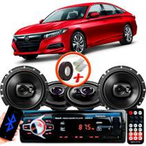"Kit Alto Falante Pionner Honda Accord Ts-1360br + TS-1790BR 5X6"" 220W RMS 4 Ohms Triaxial Bobina Simples + Rádio Com Bluetooth - Pioneer"